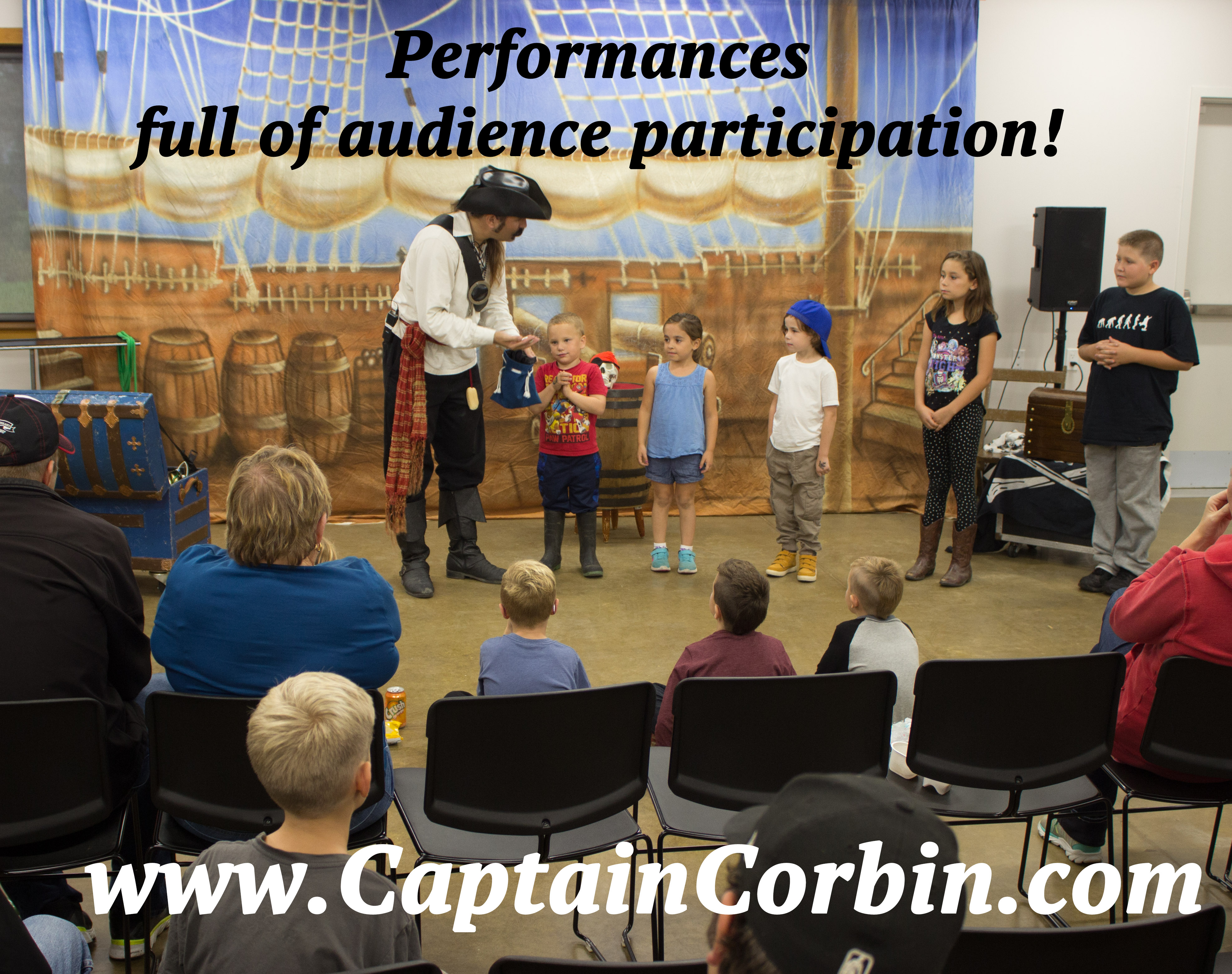 Captain Corbin performing interactive pirate themed magic show